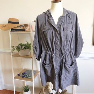Torrid Gray drawstring waist hooded light jacket 3